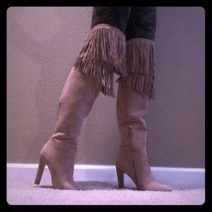 """Joie """"Casie"""" thigh-hi, fringe, high-heel boots"""